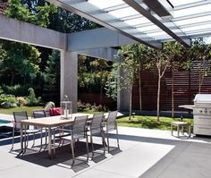 Photo Gallery: Outdoor Rooms | House & Home Industrial Outdoor Dining Room