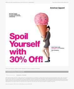 American Apparel birthday email