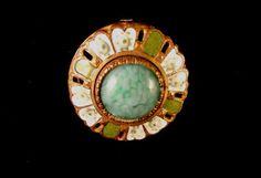 Delux Enamel w Glass Center Button Victorian Era | eBay