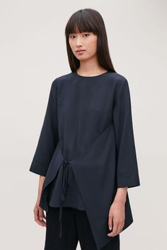Timeless tops and blouses for less: discover a range of silk tops, sweatshirts and other styles at smaller prices from our women's sale at COS. Cos Tops, Navy Tops, Silk Top, Bell Sleeve Top, Women Wear, Tunic Tops, Man Shop, Long Sleeve, Sleeves