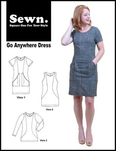 Go Anywhere dress by SEWN. Fitted women's sheath dress. Sizes 0-20.