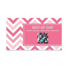 Chevron Pink - Personalized Baby Shower Scratch Off Cards - 22 ct   BigDotOfHappiness.com