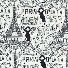 Oh La La Paris Fabric - White • Shop • Remnant Kings