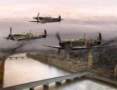 RAF Supermarine Spitfires, defending London. The Battle of Britain. WWII.