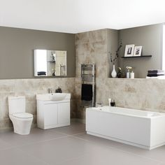 The Ultra Lux bathroom suite includes a white gloss vanity unit so you can keep toiletries neatly hidden from view Simple Bathroom Designs, New Bathroom Ideas, Best Bathroom Vanities, Complete Bathrooms, Big Bathrooms, Small Bathroom, Contemporary Bathrooms, Modern Bathroom, Home Design