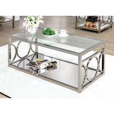 Furniture of America Mishie Contemporary Glass Top Coffee Table Champagne - Walmart.com