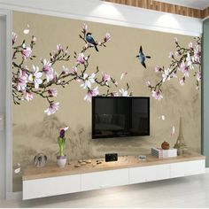 Shop it now! ❤️ Get hot & popular items everyday. Tree Wall Painting, Wall Painting Living Room, Paint Colors For Living Room, Living Room Tv, Bedroom Wall Designs, Bedroom Murals, Wall Murals, Wall Art Designs, Wall Stickers Wallpaper