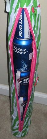 A monogrammed six pack holder..in pink and green to match my golf bag!! Yay!