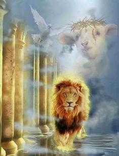 The Lion of Judah! The Lamb of God! The Dove of The Holy Spirit! God and Jesus Christ Akiane Kramarik, Lion And Lamb, Tribe Of Judah, Prophetic Art, Lion Art, Jesus Pictures, Jesus Is Lord, Jesus Son, King Of Kings