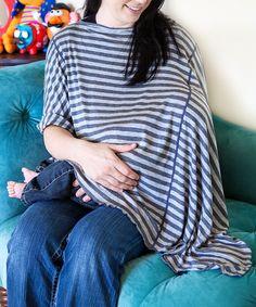 Gray Stripe Organic Oslo Maternity & Nursing Poncho | zulily
