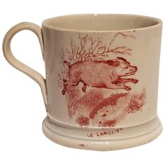 Antique childs red transferware mug fox and wild boar Aesop's fable pearlware Childrens Mugs, Mugs And Jugs, Baby Dishes, Antique Pottery, Wild Boar, Coffee Cans, Childhood Memories, Plates, Writing