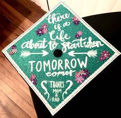 Graduation Cap Les Mis Teal Glitter