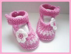 Chaussons/Ballerines bébé laine FLEUR 0/3 mois : Mode Bébé par crochet-loisirs