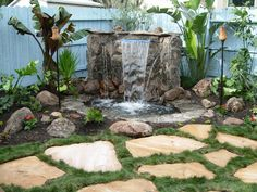Outdoor Water Features: a target=_blank href=http://www.diynetwork.com/yard-crashers/island-waterfall/index.htmlFind air times for this episode/a or a target=_blank href=http://www.diynetwork.com/diy-yard-crashers-episode/videos/index.htmlwatch Yard Crashers online/a From DIYnetwork.com