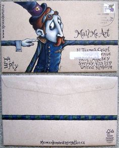 Lots of super neat mail art. Mail Design, Design Art, Illustrations, Illustration Art, Mail Art Envelopes, Letter Art, Letter Writing, Letters, Decorated Envelopes
