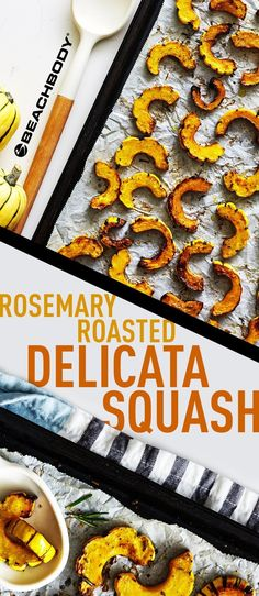 Rosemary Roasted Delicata Squash recipe is perfect for fall meal prep and holiday dinners. Fall Recipes, Healthy Dinner Recipes, Vegan Recipes, Healthy Food, Healthy Sides, Skinny Recipes, Healthy Dinners, Thanksgiving Recipes, Healthy Choices
