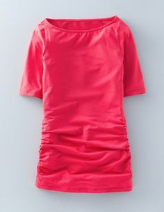 Ruched Top in Coral