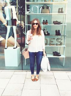 White blouse with flats