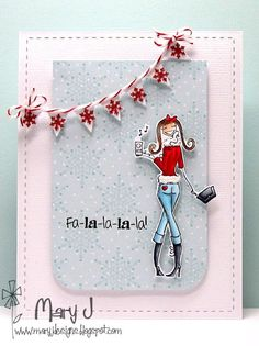 <3 Bellariffic indeed!  A deliciously clean, simple and wintry cool card from Babe Mary J featuring Stamping Bella - Ipodabella.    How cute is that snowflake banner?!    #stamping #crafting #papercrafts #rubberstamps #card