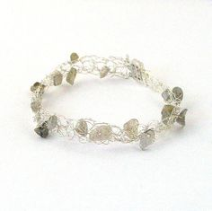 Labradorite and Silver Crochet Cobweb Bracelet by Pookledo on Etsy, £7.00