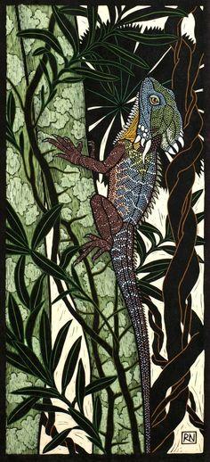 Rainforest Dragon x 34 cm Edition of 50 Hand coloured linocut on handmade Japanese paper Art And Illustration, Illustrations, Linocut Prints, Art Prints, Block Prints, Scratchboard, Wood Engraving, Aboriginal Art, Woodblock Print