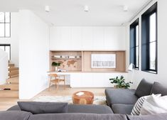 Canadian interior studio Sophie Burke Design (SBD) partner with Airey Group to shape an oceanfront site into a family's 'dream home'. White Oak Floors, White Walls, Shiplap Cladding, Painting Shiplap, Family Room, Home And Family, Built In Desk, Built Ins, Kitchen Benches