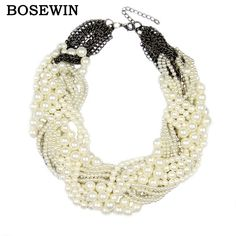 Women Handmade Chunky imitation pearl Necklace  Rhinestones Knitting Collar Chokers Necklaces Statement Jewelry Bijoux