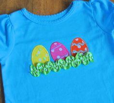 Applique Easter shirt Egg trio with trim by SimplieGirlieDesigns