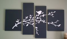 Paint canvas, apply vinyl sticker (cut into pieces to fit across multiple canvases). Super easy!