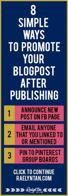 Here are 8 simple things to promote your blog posts after you hit publish. This article will cover how you can promote new blog posts on social media, and give you actionable tips to promote your blog posts. Must-read for all bloggers!