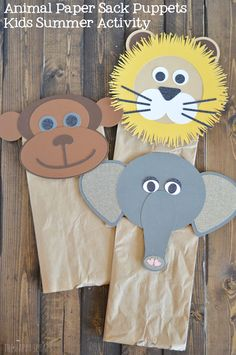 DIY Animal Paper Sack Puppets Kids Summer Activity