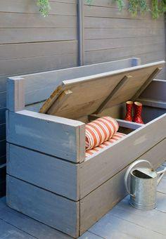 DIY rangement pour outils de jardin et coffre avec banc