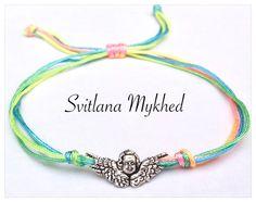 Bracelet Ange mètal argente multicolore. Bracelet de l'amitié, de l'amour à offrir ou s'offrir... : Bracelet par perles-et-couronnes