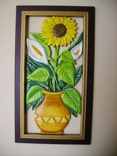 cuadros de girasoles tallados en madera - Buscar con Google - Поиск в Google Polymer Clay Projects, Clay Crafts, Arts And Crafts, Sunflower Themed Kitchen, Mural Art, Wall Art, Glow Table, Paper Clay Art, Puff Paint