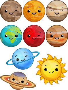 Kawaii solar system cartoon vector clipart cute cartoon faces with different emotions emoticons Solar System Projects For Kids, Solar System Art, Solar System Crafts, Solar System Clipart, Solar System Activities, Planet Crafts, Planet Drawing, Kawaii Faces, Space Theme