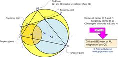 Geometry Problem 54. Tangent Circles, Intersecting Circles, Tangent Chord, Angle Bisector, Midpoint. Level: High School, College, Math Education.