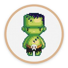 Heavy-browed and covered with scars, Franks (the Monster) is a perfect fit for horror fans in this creepy cross-stitch pattern by iamnotadoll.