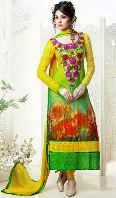 USD 80.57 Green and Yellow Georgette Embroidered Churidar Suit  40456