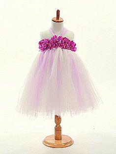 Rosette Neckline Featured Tulle A Line Flower Girl Dress - USD $52.99