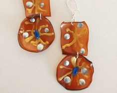 Brown plastic earrings with silver golden and blue elements , earrings from plastic bottles, PET , handmade earrings , reusable materials