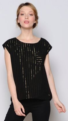 Black cap sleeve top with glitter stripe from Des Petits Hauts