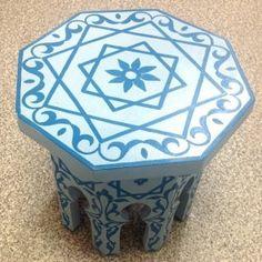 木製ペイントテーブル アラビックブルー - インテリア [モロッコ雑貨 Moroccoya ]