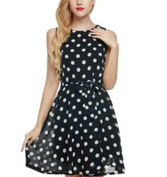 A floaty polka dot sundress with a tie waist.