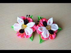 Borboleta Hairpin kanzashi de fitas de cetim DIY - YouTube