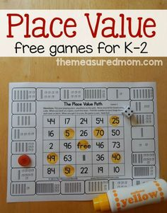 for place value games for kids in Print these free games to give your child practice counting hundreds, tens, and ones.Looking for place value games for kids in Print these free games to give your child practice counting hundreds, tens, and ones. Math Games For Kids, Kindergarten Games, Best Math Games, Math Games Grade 1, 2nd Grade Math Games, Learning Games, Math Place Value, Place Values, Place Value Centers