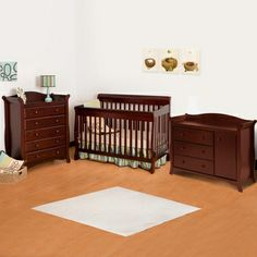 Simply Baby Furniture.com - Storkcraft 3 Piece Nursery Set - Modena 4 in 1 Fixed Side Convertible Crib, Aspen Combo Dresser/ Changer and Aspen 5 Drawer Dresser in Cherry FREE SHIPPING