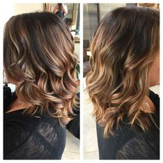 Balayage highlights, honey and red tones with dark base color long layers short style