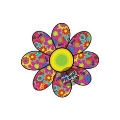 This is an original, hand drawn flower sticker with bright yellow and green center. Each petal is filled with lots of colorful flowers. Made of