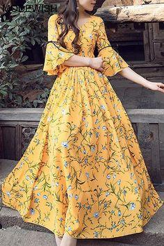 Chiffon Vintage V-Neck Flare Sleeve Big Hem Dress - Source by - Trendy Dresses Trendy Dresses, Simple Dresses, Casual Dresses, Fashion Dresses, Awesome Dresses, Dresses Dresses, Party Dresses, Pretty Dresses For Women, Simple Dress Casual