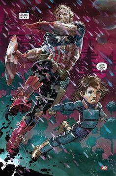 """Captain America & Son"", by John Romita Jr Hydra Captain America, Captain America Super Soldier, Captain America Movie, Marvel Comic Books, Comic Books Art, Marvel Comics, Marvel Dc, Comic Book Artists, Comic Artist"